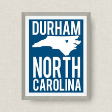 Durham North Carolina Print, Duke Blue - State Art Print