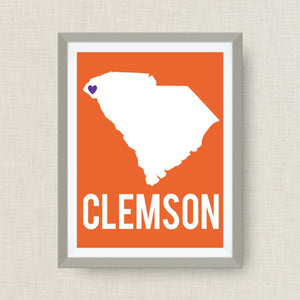 State Art Print, South Carolina Art Print in Clemson Colors