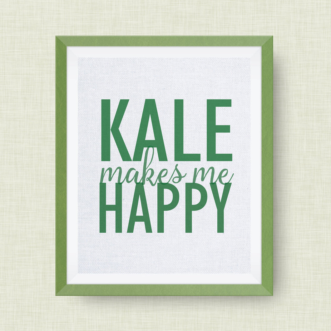 kale makes me happy, kitchen art, option of real gold foil