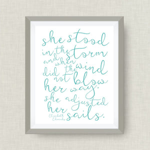 Elizabeth Edwards art print- She Stood in the Storm, option of Gold Foil, love, anniversary art