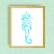 Seahorse Print - Teal  -  Option of Real Gold Foil, Silver Foil - other colors available!