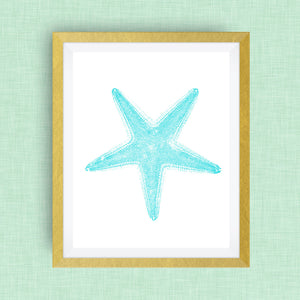 Starfish Print - Teal -  Option of Real Gold Foil, Silver Foil - other colors available!