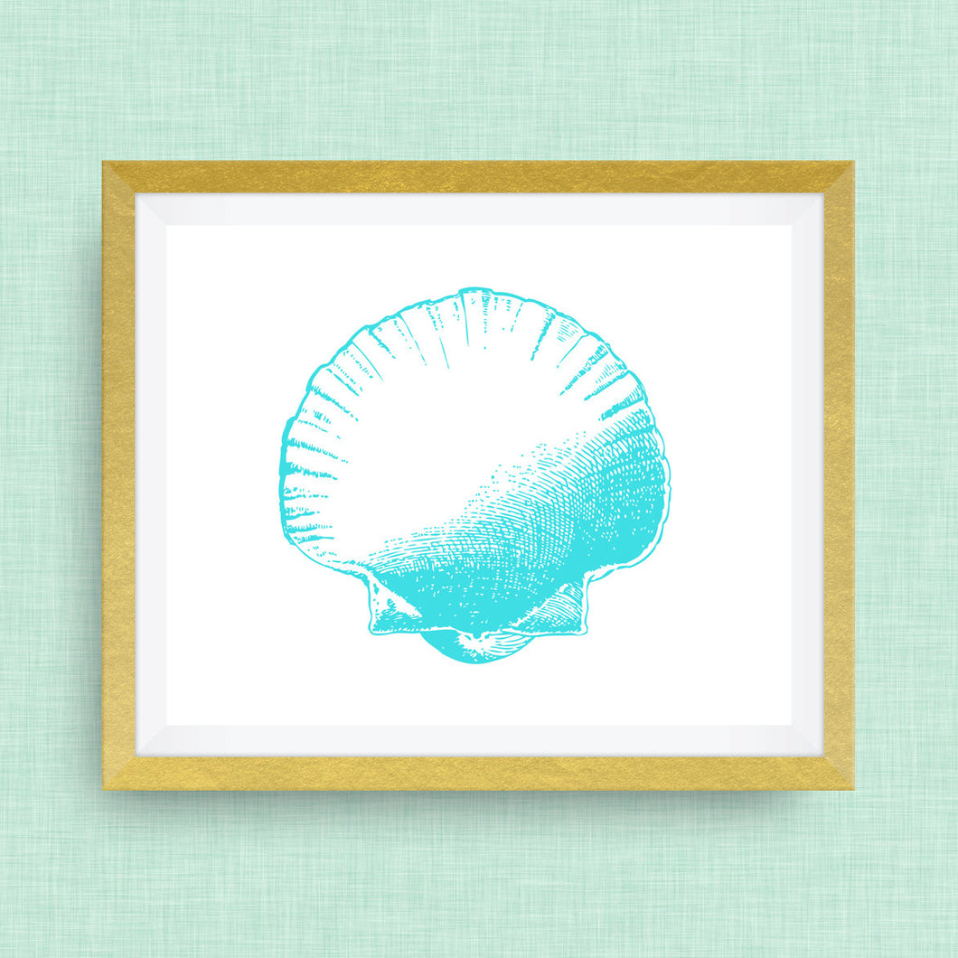 Seahell Print - Teal  -  Option of Real Gold Foil, Silver Foil - other colors available!