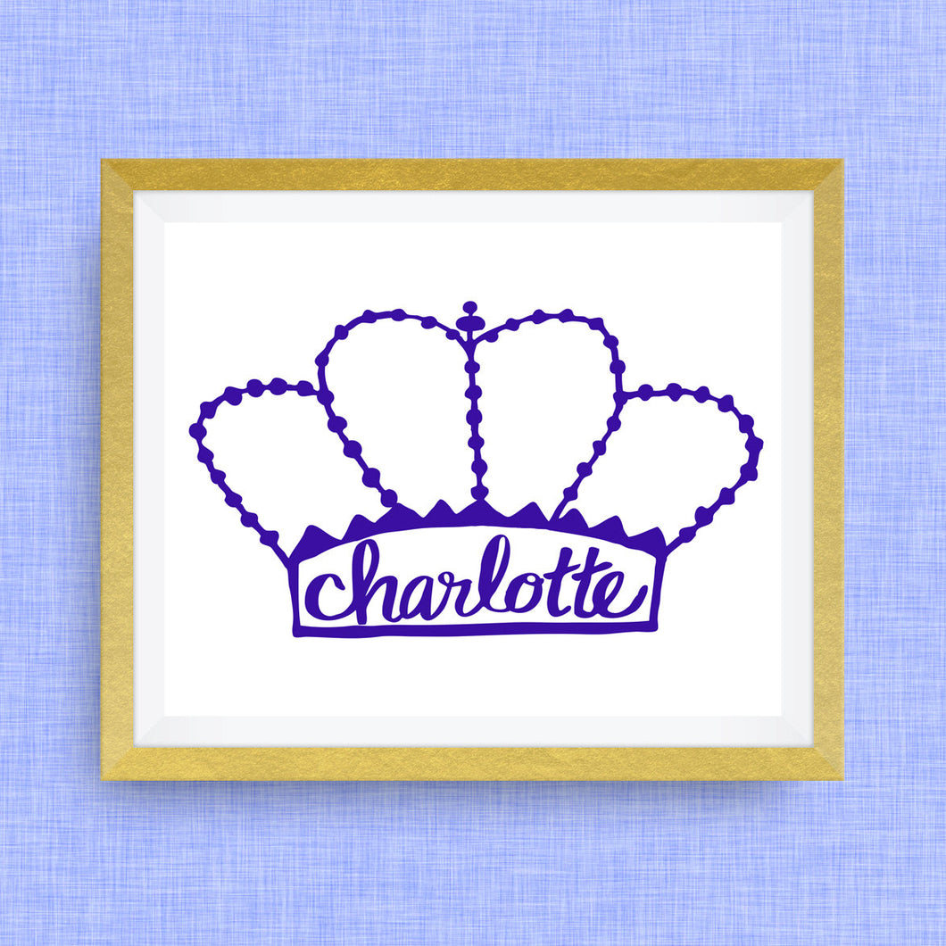 Charlotte Art Print - the Queen City, hand drawn, hand lettered, Option of Real Gold Foil