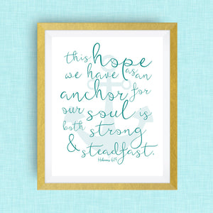 Hope and Anchor Bible Verse -  option of gold foil