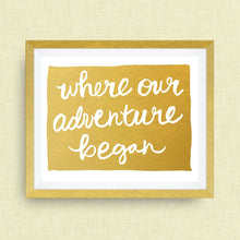 Colorado Art Print - Where Our Adventure Began (TM), Hand Lettered, option of Gold Foil, Wedding Art, Colorado Wedding Gift