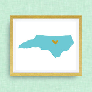 North Carolina Print - hand drawn, with heart, option of gold foil