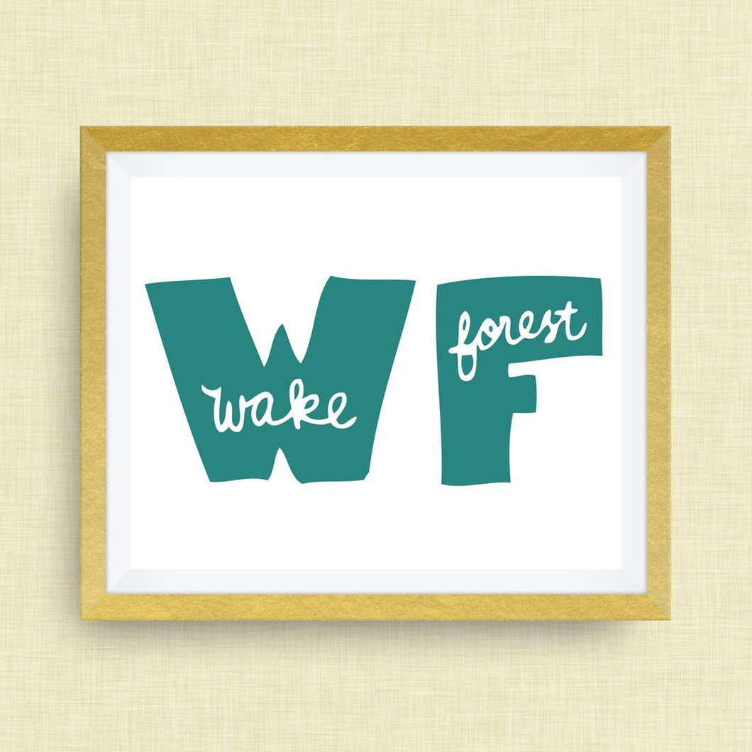 Wake Forest Art Print - Wake Forest NC, hand drawn, hand lettered, Option of Real Gold Foil