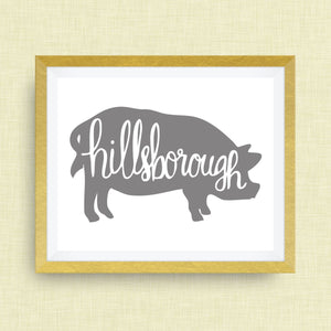 Hillsborough Art Print - Hillsborough NC, hog, hand drawn, hand lettered, Option of Real Gold Foil