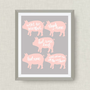 This Little Piggy- Custom Nursery Art - Pick your colors!