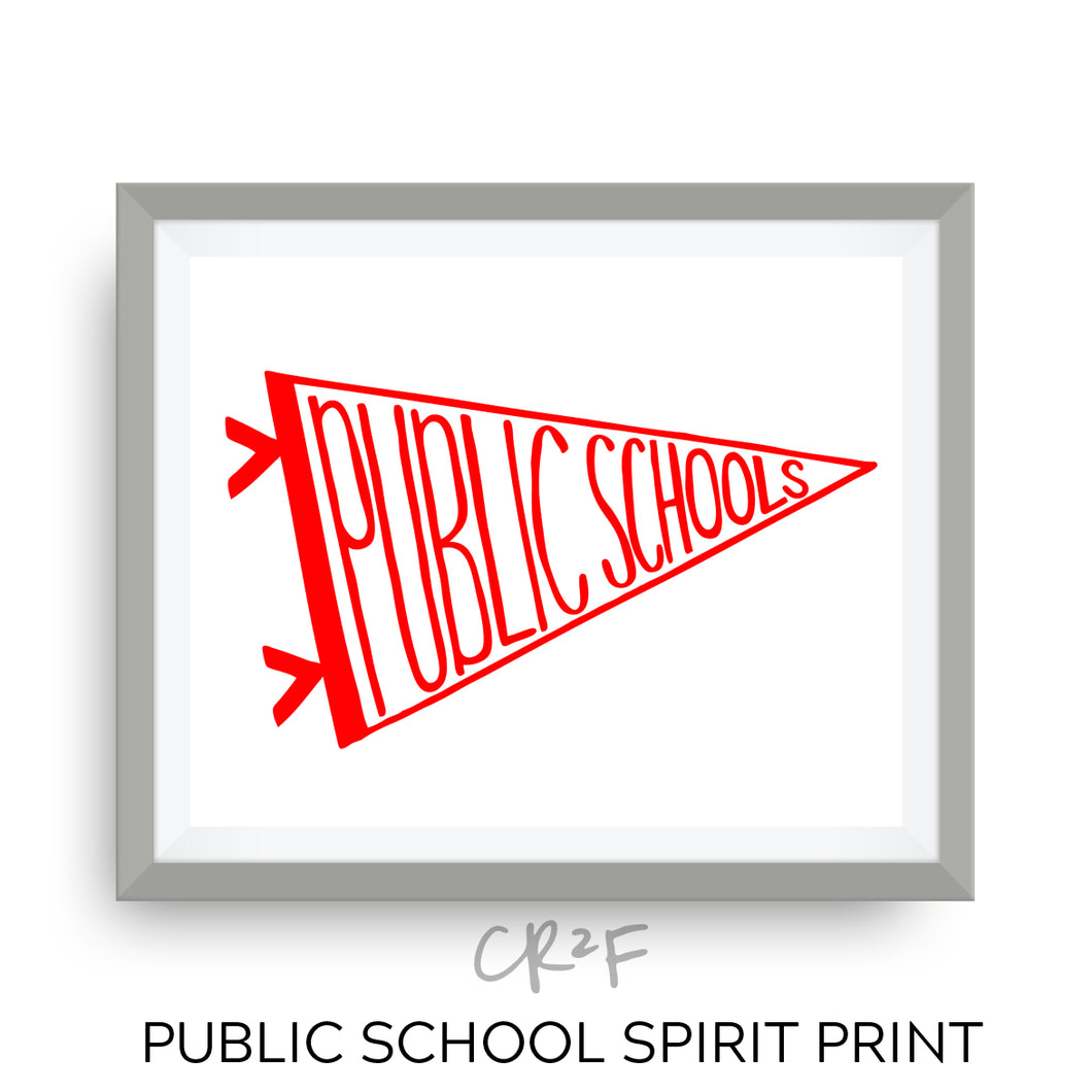 public school spirit art print - red for ed