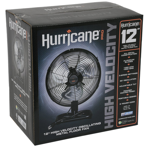 Hurricane® Pro High Velocity Metal Floor Fan 12 in