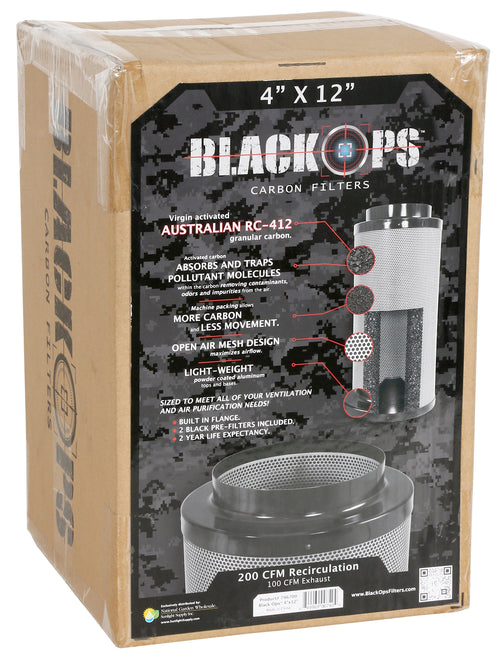 Black Ops Carbon Filter 4 in x 12 in 200 CFM