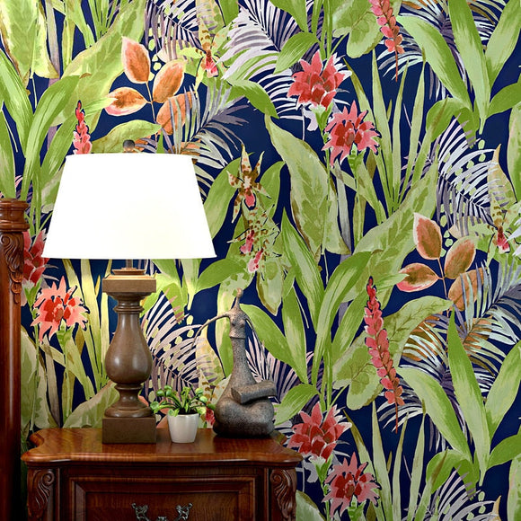 floral-wallpaper-wallcovering-free-shipping-flower-bird-pastoral