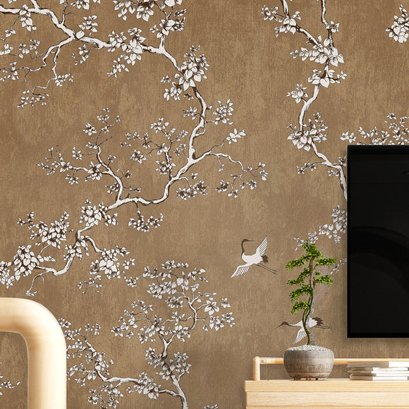 chinoiserie-wallpaper-chinese-style-crane-floral-wallcovering-5.3-㎡-oriental-decor