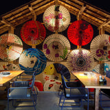 Custom-Size-Wallpaper-Mural-for-Sushi-Restaurant-Colorful-Umbrellas-wallcovering-interior-design