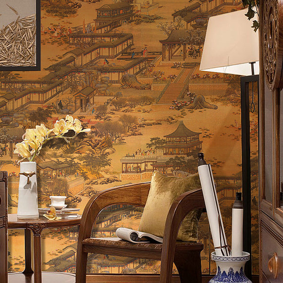 chinoiserie-wallpaper-chinese-classic-painting-wallcovering-oriental-style-decor-orange