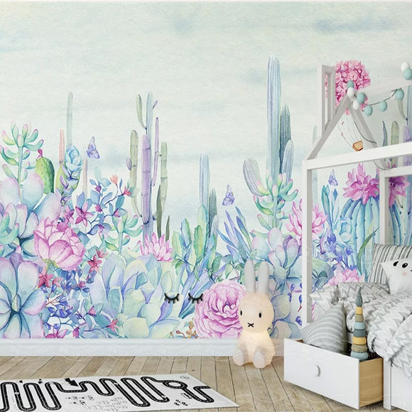 custom-mural-wallpaper-papier-peint-papel-de-parede-wall-decor-ideas-for-bedroom-living-room-dining-room-wallcovering-Hand-painted-Garden-Plant-Flower-Cactus
