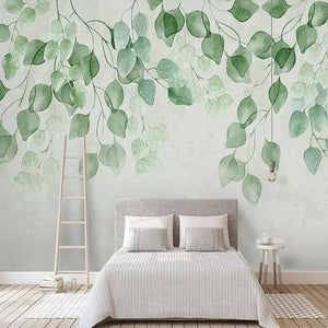 custom-mural-wallpaper-papier-peint-papel-de-parede-wall-decor-ideas-for-bedroom-living-room-dining-room-wallcovering-green-leaves-nordic-watercolor