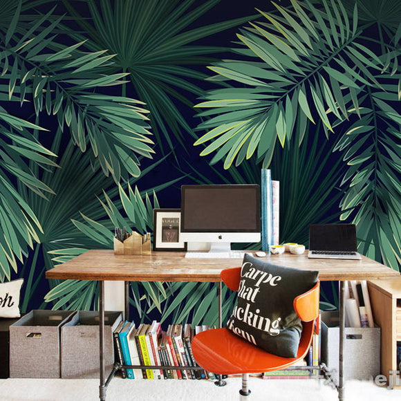 custom-size-wallpaper-mural-tropical-rainforest-palm-leaves-wallcovering-home-design