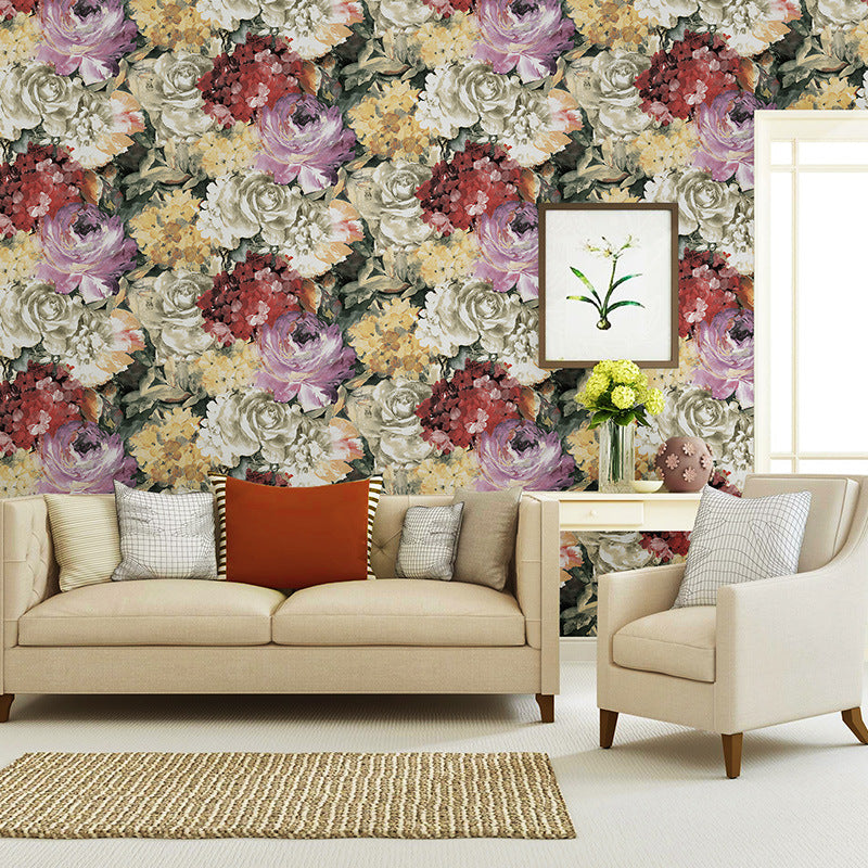 American pastoral romantic big flower pattern wallpaper Country retro living room bedroom flower Non woven wall 0551f36d 1150 4886 9fc7