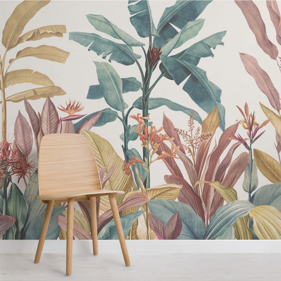 custom-mural-wallpaper-papier-peint-papel-de-parede-wall-decor-ideas-for-bedroom-living-room-dining-room-wallcovering-Hand-Painted-Tropical-Plant-Flower-Banana-Leaf-Abstract-Art-Wall