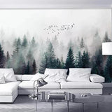 Custom Wallpaper Mural Foggy Forest and Birds (㎡)