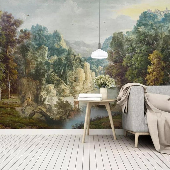 custom-mural-wallpaper-3d-living-room-bedroom-home-decor-wall-painting-papel-de-parede-papier-peint-nostalgic-medieval-retro-rainforest