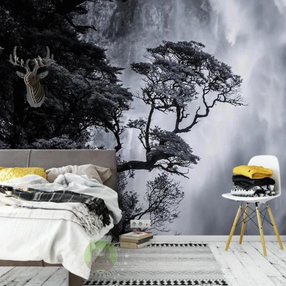 custom-wallpaper-nordic-black-and-white-landscape-waterfall-personalized-creative-home-decoration-murals-wallpaper-papier-peint