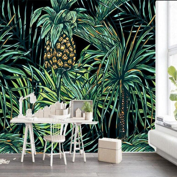 custom-3d-wallpaper-mural-hand-painted-in-southeast-asia-style-pineapple-leaves-photo-mural-3d-wallpaper-papier-peint