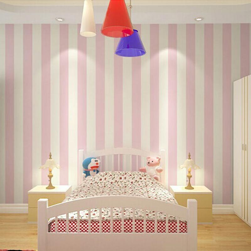 Pink Striped Wallpaper For Girls Bedroom 53
