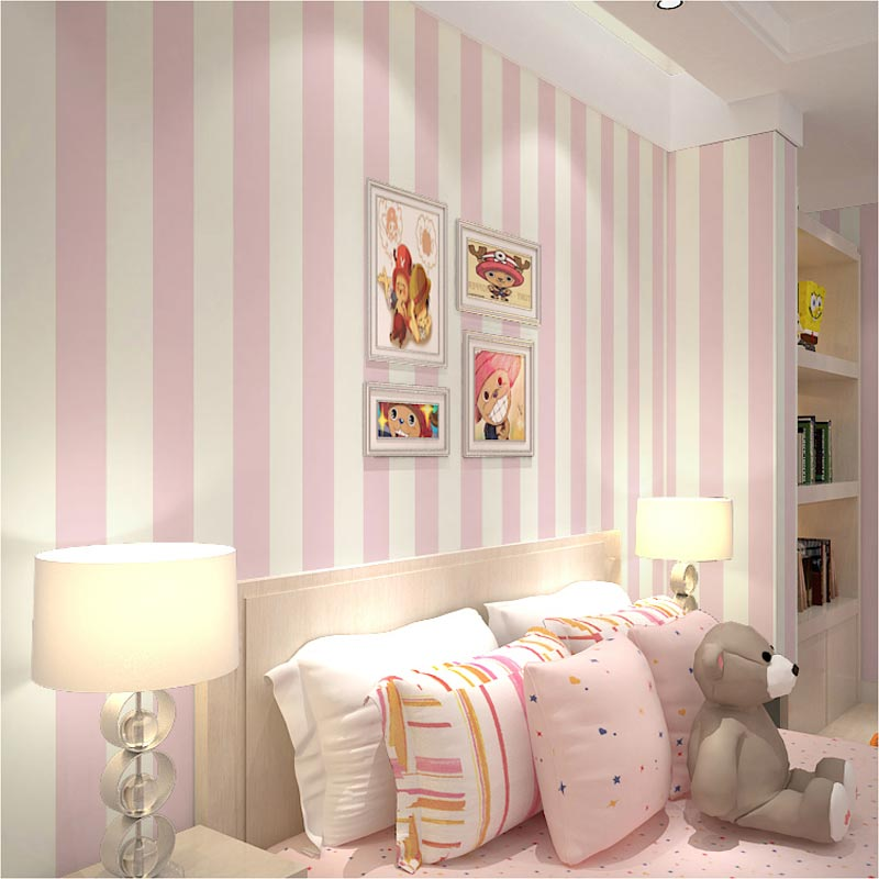 Pink Striped Wallpaper For Girl S Bedroom 5 3