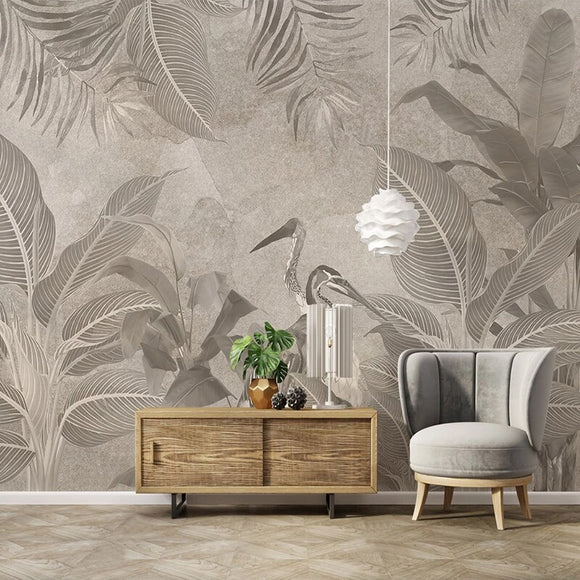 custom-mural-wallpaper-papier-peint-papel-de-parede-wall-decor-ideas-for-bedroom-living-room-dining-room-wallcovering-vintageHand-Painted-Retro-Tropical-Plant-Flowers-crane