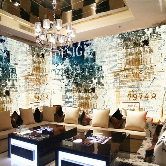 custom-wall-mural-wallcovering-Creative-Wallpaper-English-Letters-Graffiti