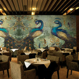 retro-nostalgic-peacock-wallpaper-mural-wallcovering