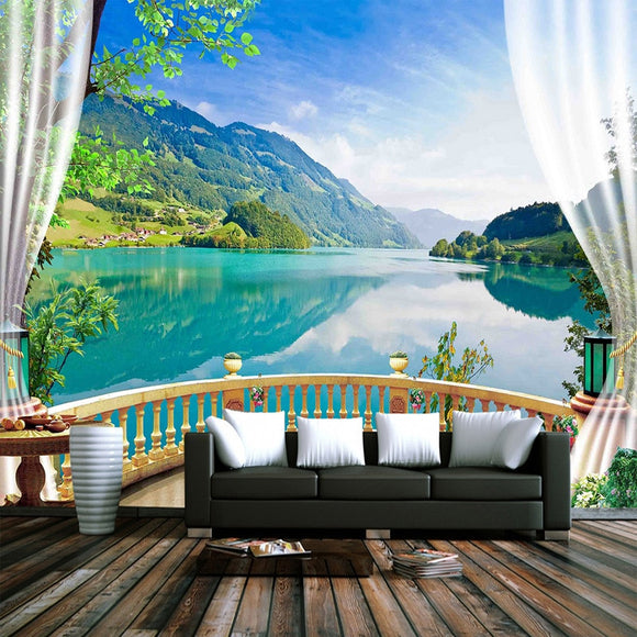 custom-3d-photo-wallpaper-balcony-window-blue-sky-white-clouds-lake-forest-scenery-living-room-sofa-tv-backdrop-mural-wall-paper