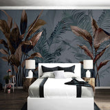 custom-mural-wallpaper-papier-peint-papel-de-parede-wall-decor-ideas-for-bedroom-living-room-dining-room-wallcovering-Retro-Nostalgic-Abstract-Leaves-tropical-rainforest