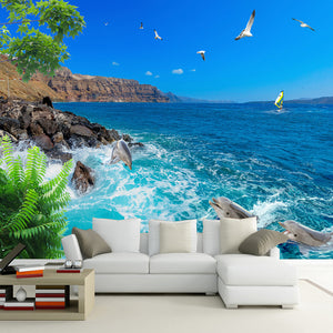 custom-wall-mural-wallcovering-nature-landscape-wallpaper-sea-view-blue-sky