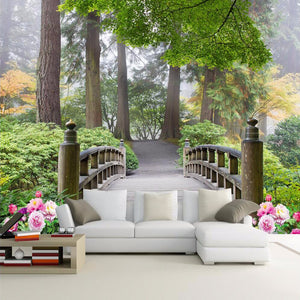 custom-wall-mural-wallpaper-wallcovering-forest-bridge-green