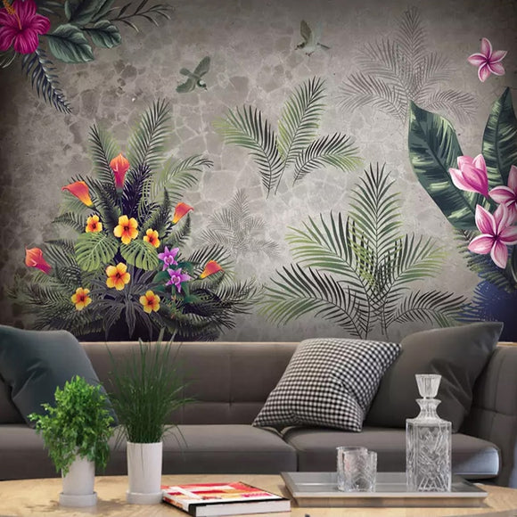 custom-3d-photo-wallpaper-vintage-pastoral-tropical-rain-forest-flowers-birds-background-wall-painting-living-room-bedroom-decor