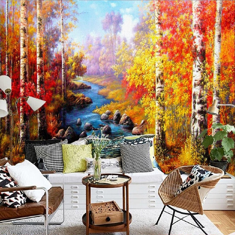 Custom Mural Wallpaper Birch Forest Oil Painting