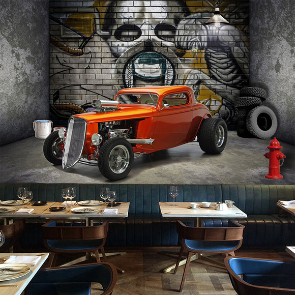 custom-wall-mural-wallcovering-Creative-Wallpaper-Stereoscopic-Space-Car-Skull-Street-Graffiti