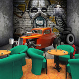 Creative-Wallpaper-Stereoscopic-Space-Car-Skull-Street-Graffiti