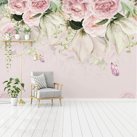 custom-mural-wallpaper-papier-peint-papel-de-parede-wall-decor-ideas-for-bedroom-living-room-dining-room-wallcovering-flowers-floral-butterfly