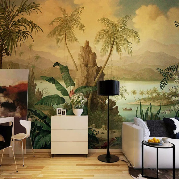 custom-3d-wallpaper-art-wall-mural-european-style-retro-landscape-oil-painting-tropical-rainforest-banana-coconut-tree-wallpaper