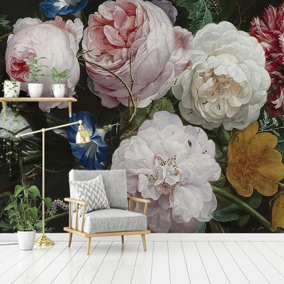 custom-mural-wallpaper-papier-peint-papel-de-parede-wall-decor-ideas-for-bedroom-living-room-dining-room-wallcovering-European-Style-Retro-Nostalgic-Floral-Flowers