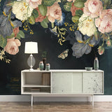 custom-3d-wallpaper-silk-cloth-waterproof-canvas-murals-wall-painting-pastoral-floral-flower-oil-painting-black-mural-wallpaper