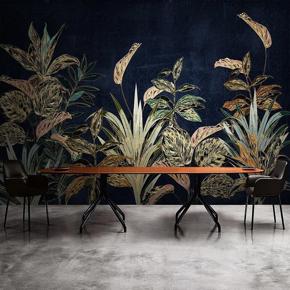 custom-mural-wallpaper-papier-peint-papel-de-parede-wall-decor-ideas-for-bedroom-living-room-dining-room-wallcovering-Tropical-Plant-Flowers-Leaves-Luxury-gold