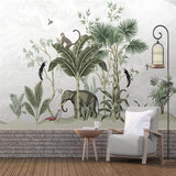 custom-wallpaper-mural-medieval-hand-painted-tropical-leaves-elephant-bird-tv-sofa-background-wall-papier-peint