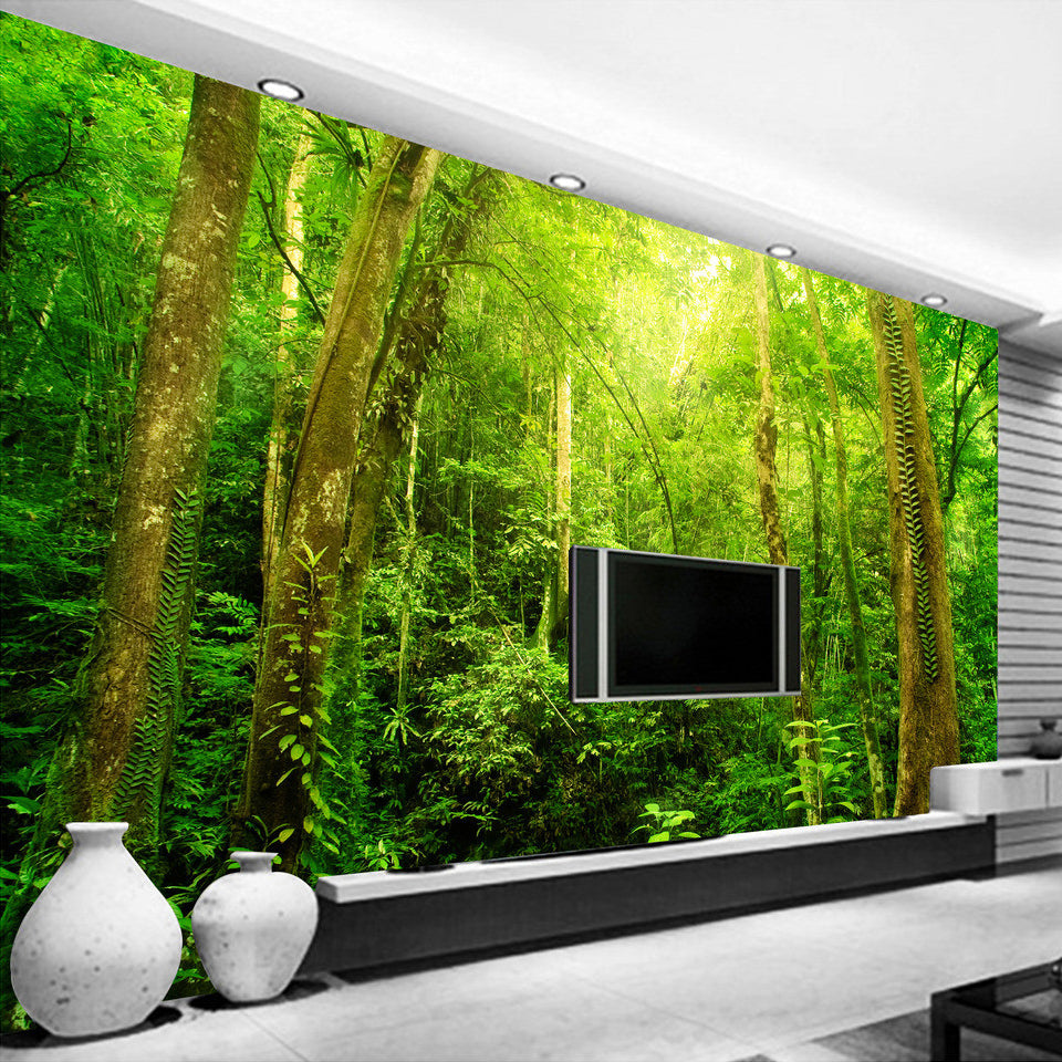 Custom Wallpaper Mural Sunshine Forest Tree Landscape